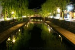 The canal is beautiful at night