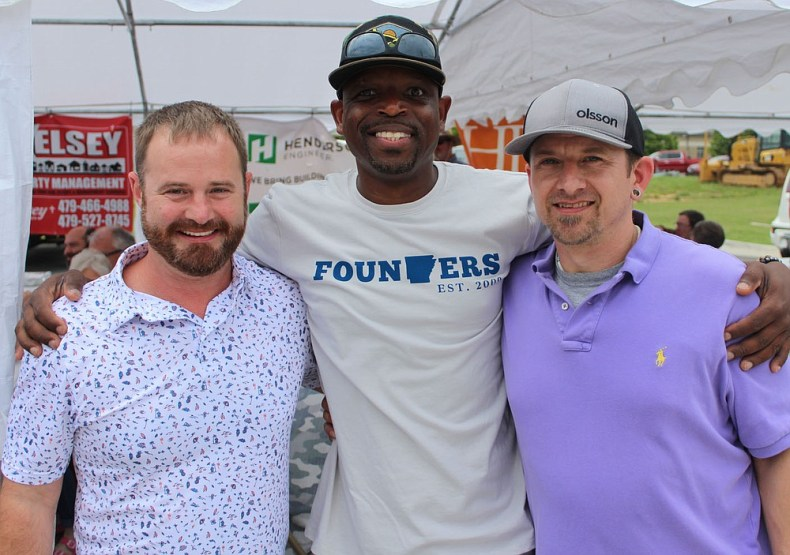 Heath Eckland (from left), Gregory McMullen and Jason Hughes help support the Children's Safety Center. (NWA Democrat-Gazette/Carin Schoppmeyer)