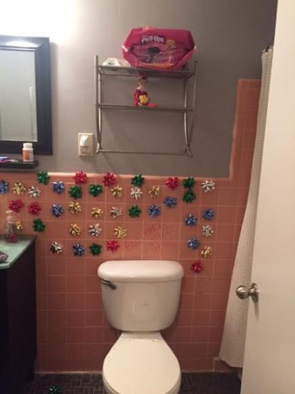 bows on wall elf on the shelf