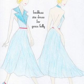 Fashion sketch: dress design for Grace Kelly