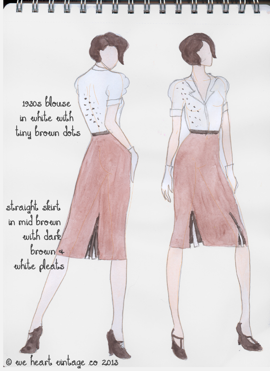 Vintage fashion design 1930s day outfit
