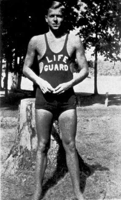 Young Ronald Reagan as a lifeguard 1920s