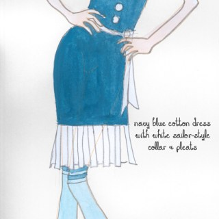 Fashion design sketch: 1920s sailor dress for Louise Brooks