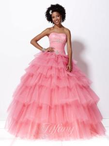 Pink tulle prom dress by Tiffany Presentations