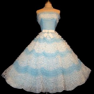 Vintage 1950s blue & white strapless dress from La Belle Vintage