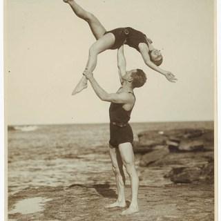 1930s acrobats on the beach