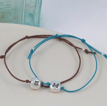 personalised jewellery initial beanie friendship bracelet