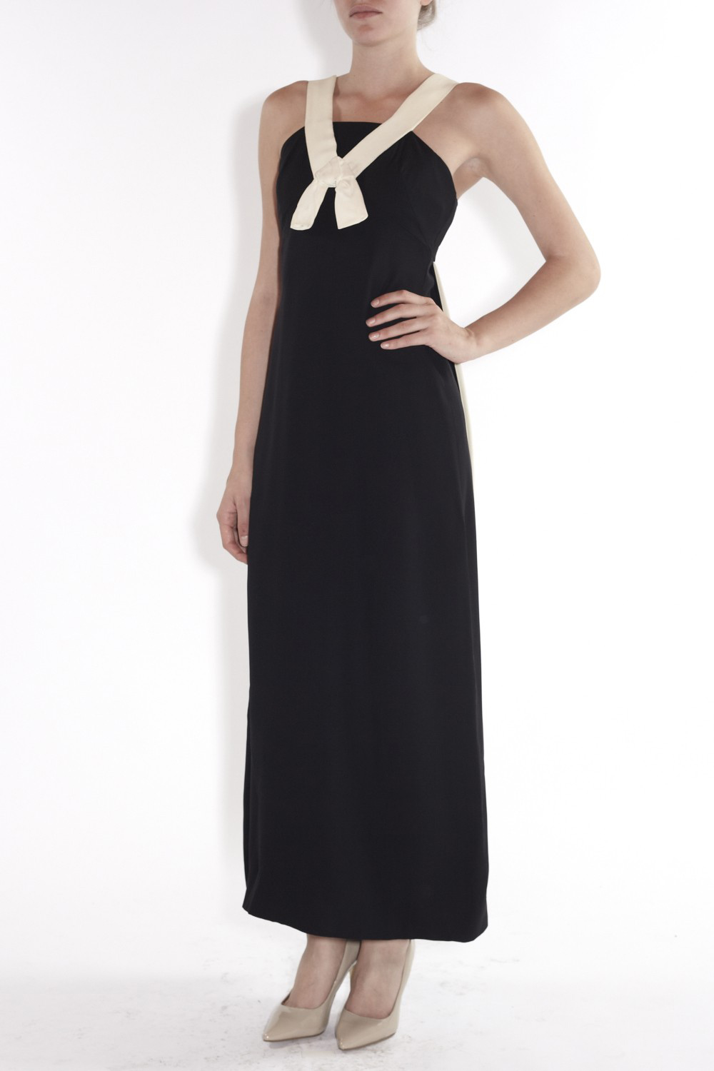 1960's Monochrome Bow Strap Gown