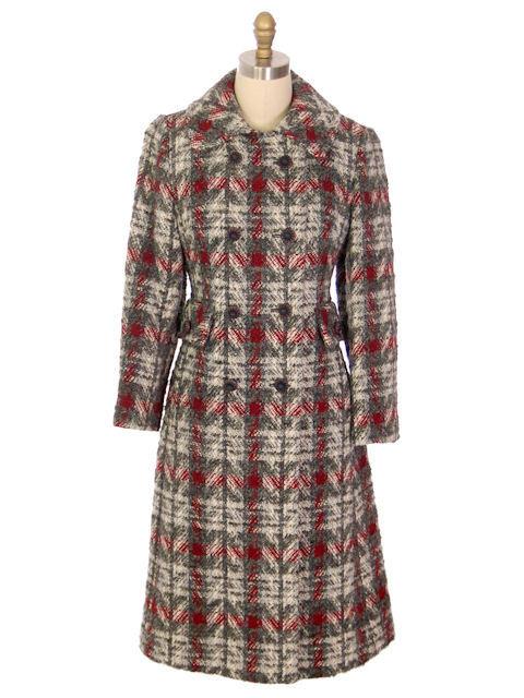 Vintage Ladies Wool Coat Gray & Red Plaid 1970 Classic Style