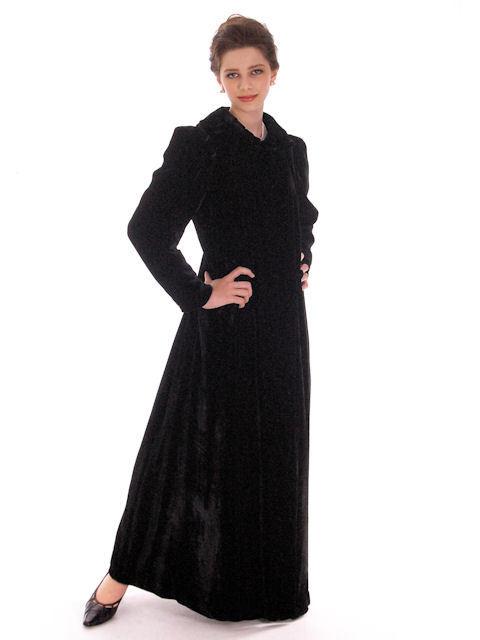 Vintage Black Silk Velvet Evening Coat 1930s Full Length