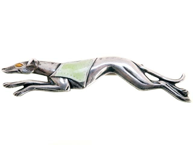Vintage Sterling & Enamel Greyhound Dog Brooch Early 1920s