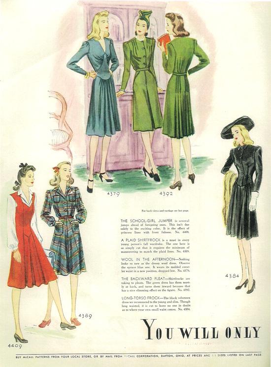 1940s fashion illustrations