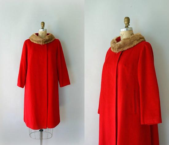 Vintage 1950s Coat - Red Wool fur Collar Dress Coat