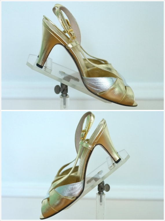 970s Ferragamo's / Silver and Gold Shiny Lame Disco High Heels Dancing Shoes