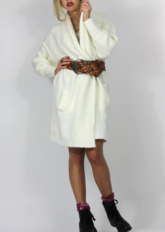 Ivory Cocoon Vintage 80s 90s Sweater Coat Long Cardigan