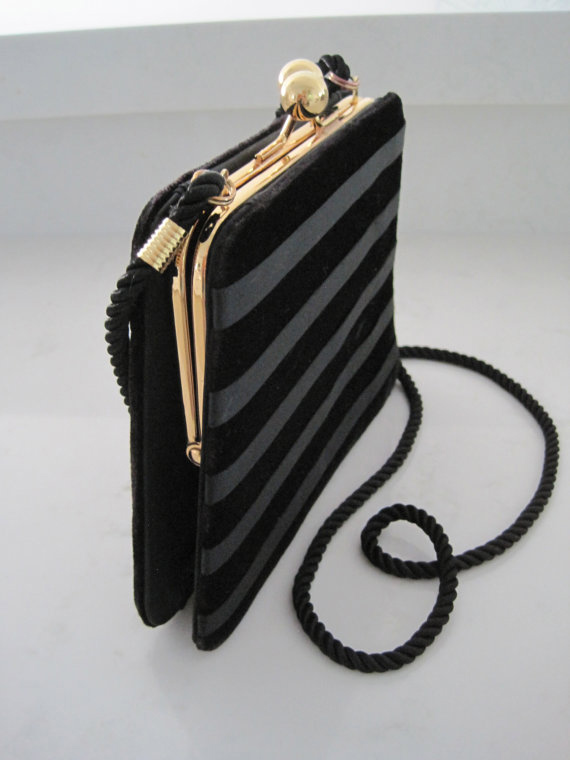 Vintage Black Striped Velvet Evening Purse by Lord & Taylor with Gold Clasp and Rope Strap