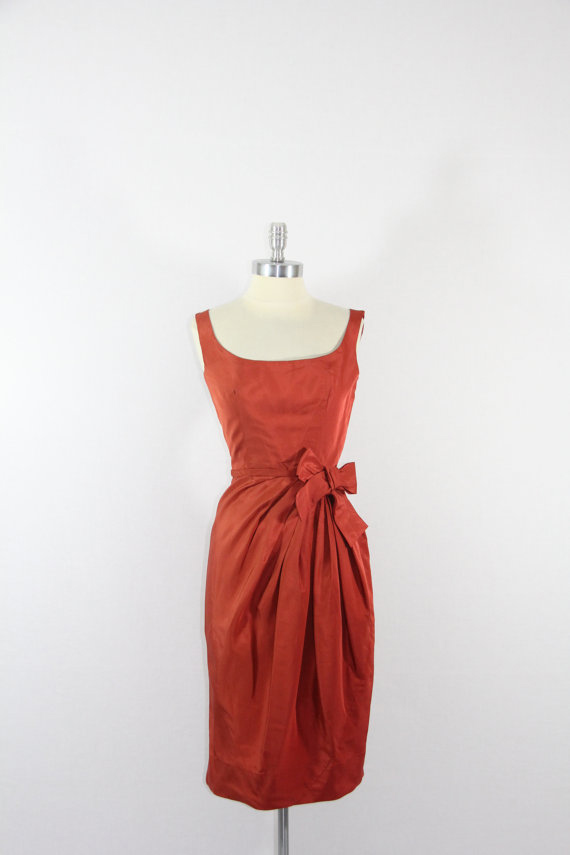 1950's Vintage Dress - Gorgeous Rust Sleeveless Knee Length Cocktail Party Dress