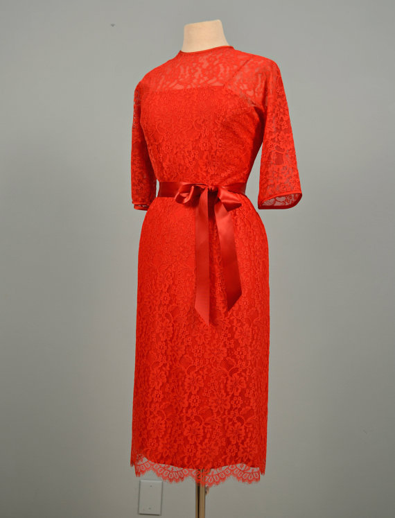 1960s Party Dress...DAUPHINE Red Lace Party Dress Cocktail Dress