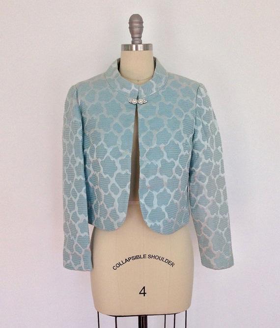 Vintage Pastel Blue Brocade 1960s Jacket