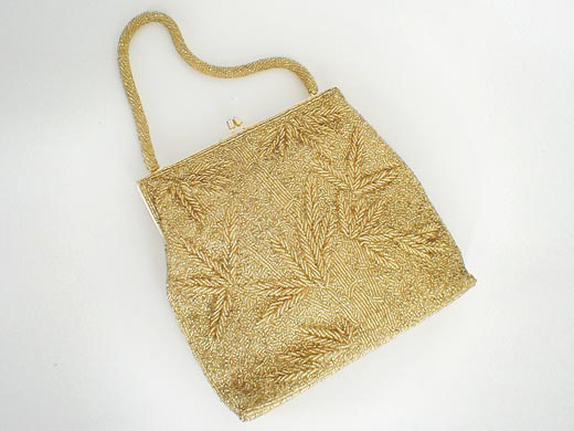 50s/60s Golden Hand-Beaded Handbag