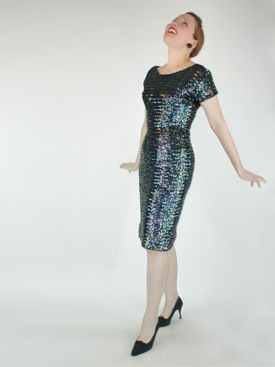 50s Vintage Anne Fogarty Sheath Dress Covered in Dark Iridescent Sequins