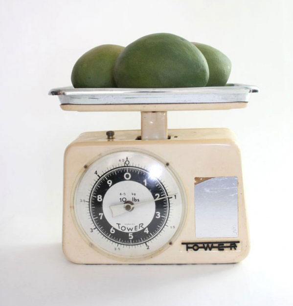 1950s Cream Enamel Tower Kitchen Scales