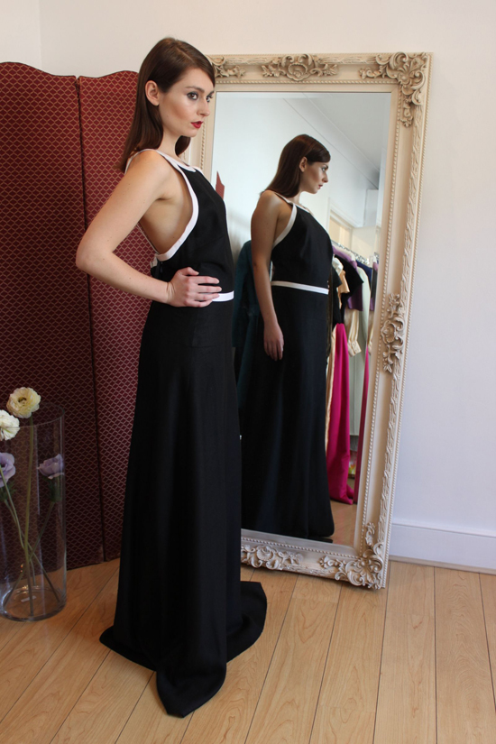 1970s Christian Dior Black Linen Dress