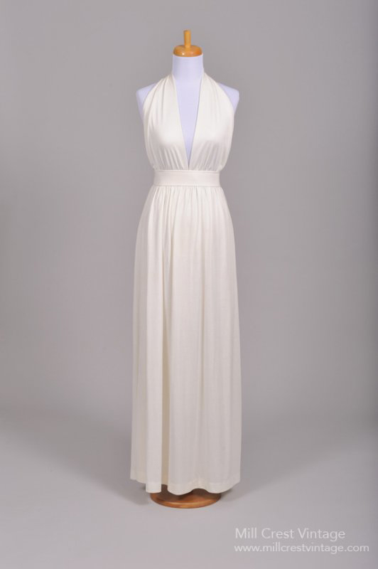 1970 Halston Style Vintage Wedding Dress