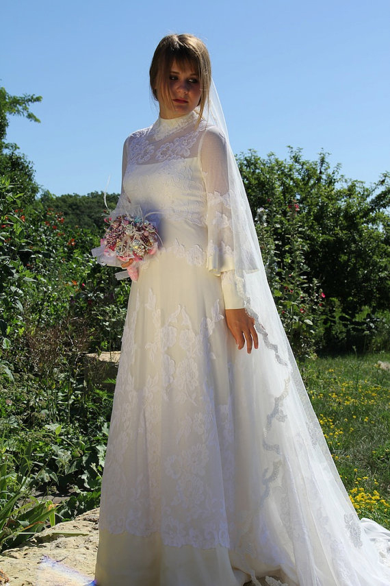 1970s Wedding Dress Lace with Poet Sleeves