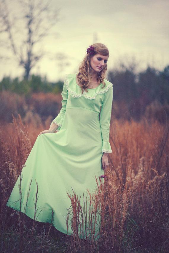 70's Bohemian Sweet Lace Mint Green maxi dress