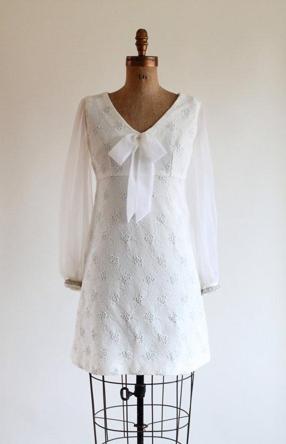 Vintage 1960s Mod Wedding Dress