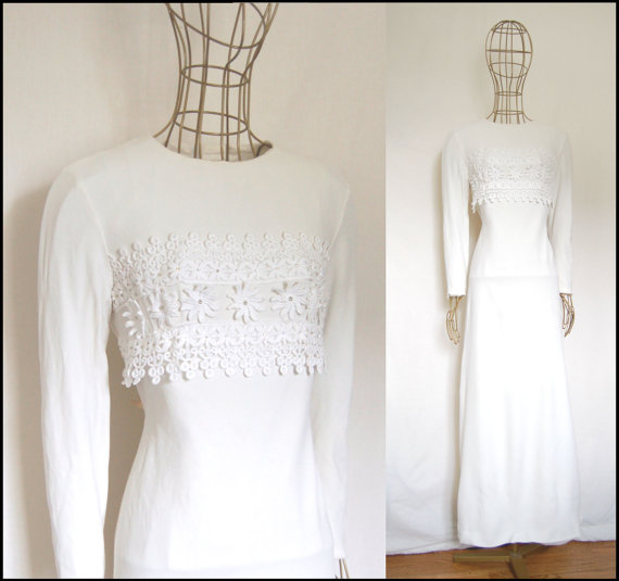 1970s Flower Appliqué Vintage Wedding Dress