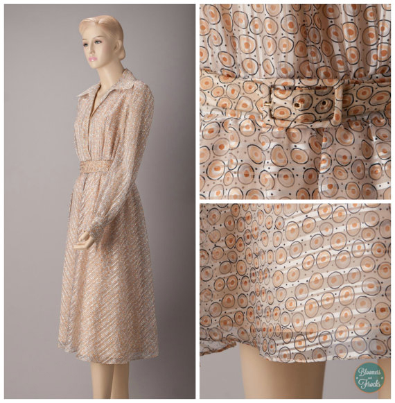 1970s Tan and Blue Circle Print Shirtwaist Day Dress by Shannon Rodgers for Jerry Silverman
