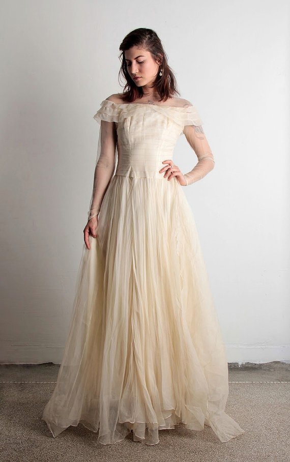 1940s Tulle Wedding Dress
