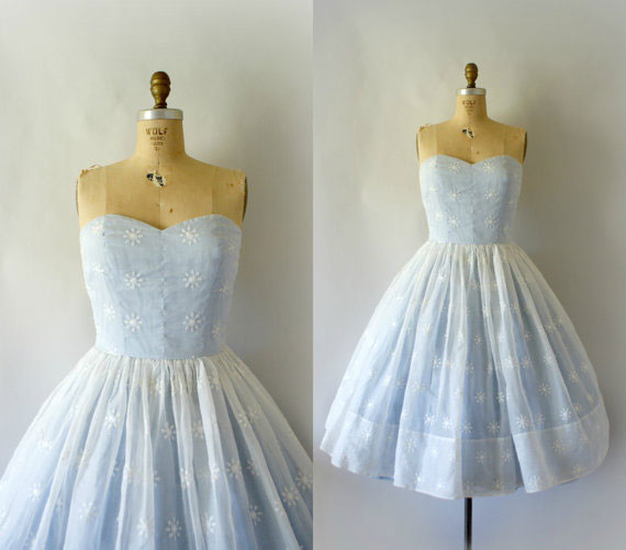 1950s Pale Blue Vintage Wedding Dress
