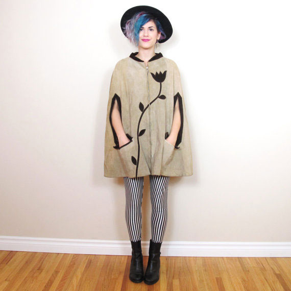 70s Leather Poncho Floral Cape Hippie Boho Brown Suede Jacket Capelet