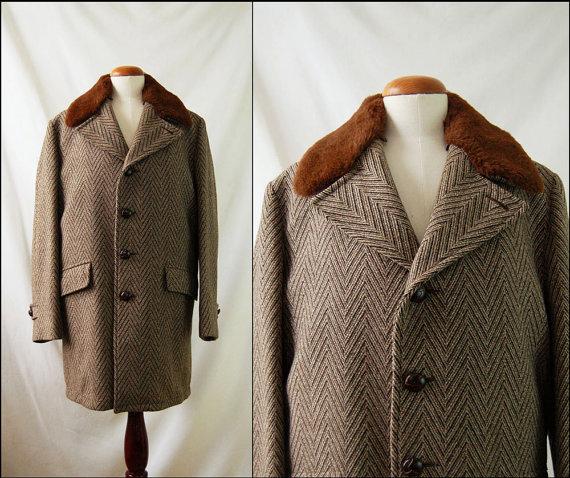 1970s Mens Chevron Tweed Fur Lined Wool Vintage Coat