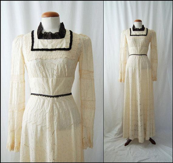 1970s Long-Sleeve Ivory Eyelet Vintage Maxi Dress