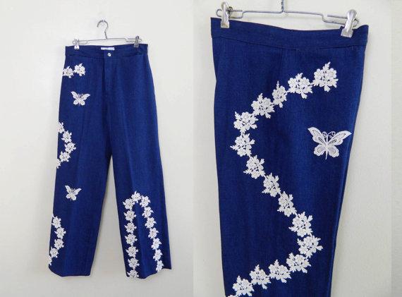 Vintage 1970s Jeans Crochet Butterfly Denim Pants