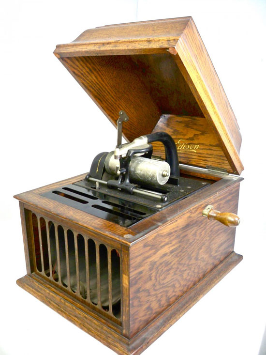 Antique Edison Table Top Amberola 30 Cylinder Music Player with 37 Cylinders