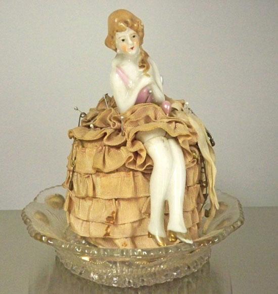 Vintage Pincushion Dresser Boudoir Doll & Dish 1930s Estate Find