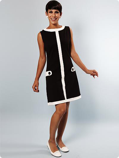 Black and white 1960s mod dress