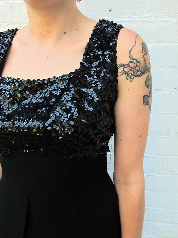 Vintage Ann Barry Jr. Black Sequins 1960s Bombshell Formal Wiggle Dress