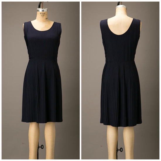 1950s Navy Crepe Pleated Dress