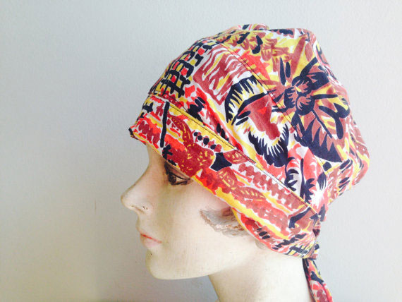 1960s Vintage Tribal Bandana Head Wrap Hippie Boho Hat