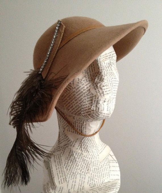 Vintage Lancaster Ernie Tan Bohemian Feather Hat
