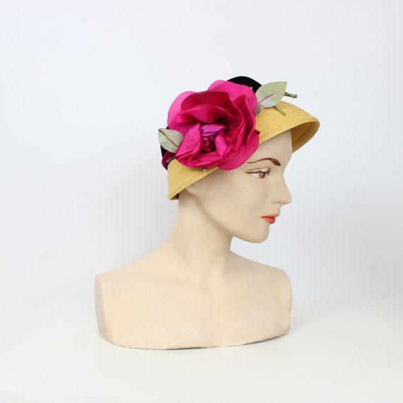 vintage 50s floral straw hat
