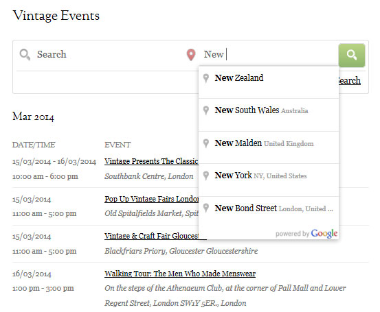 Vintage Events Directory