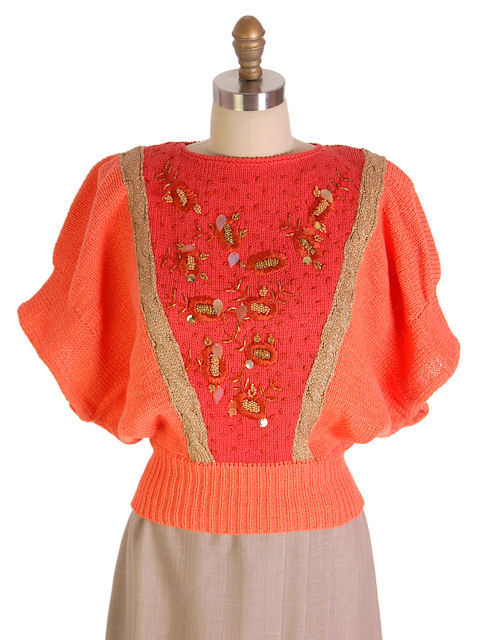 VINTAGE WOMENS COTTON SWEATER ORANGE BEADED 1980S GOLDBERGS LA NUIT