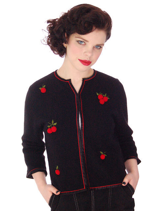 VINTAGE BLACK CASHMERE SWEATER W/3D CHERRIES 1950S